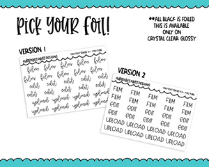 Foiled Tiny Text Series - You Tube Checklist Size Planner Stickers for any Planner or Insert - Adorably Amy Designs