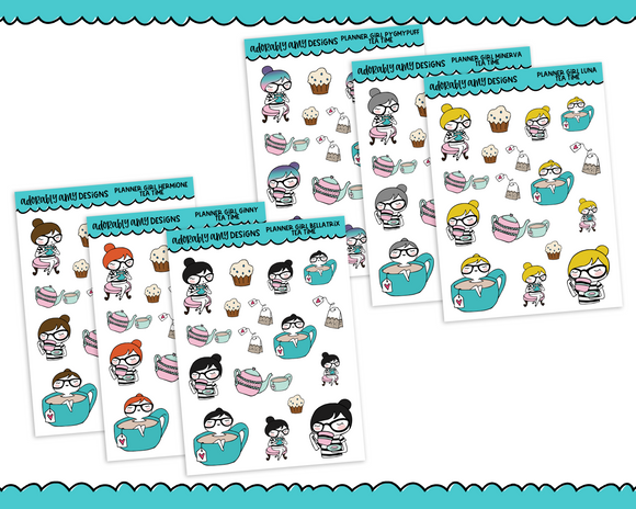 Planner Girls Character Stickers Tea Time Planner Stickers for any Planner or Insert - Adorably Amy Designs