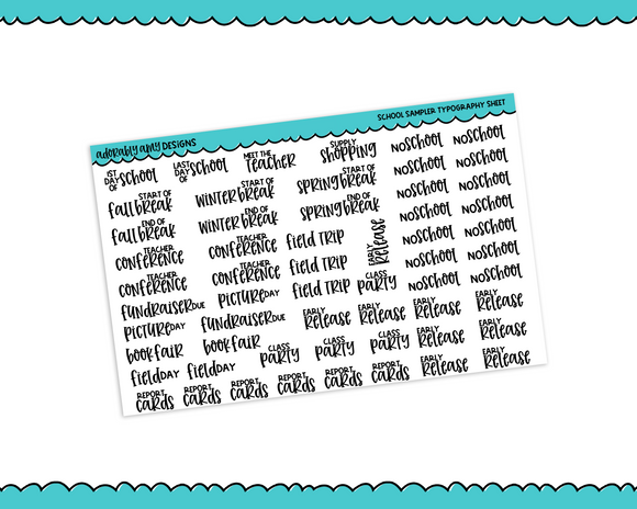 Typography - Text Grade School Sampler Planner Stickers for Erin Condren, Plum Planner, Happy Planner or Any Size Planner or Insert