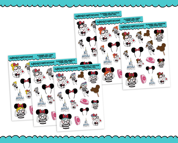 Planner Girls Character Stickers Theme Park Girl Decoration Planner Stickers for any Planner or Insert - Adorably Amy Designs