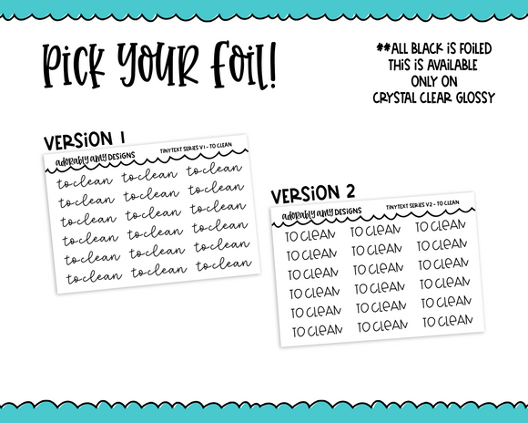 Foiled Tiny Text Series -   To Clean Checklist Size Planner Stickers for any Planner or Insert