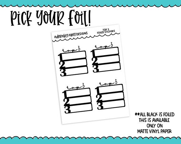 Foiled Top 3 Priority Plans Tracker Reminder Planner Stickers for Erin Condren, Plum Planner, Inkwell Press, or Any Size Planners