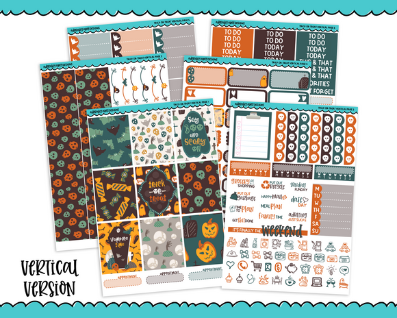 Vertical Trick or Treat Halloween Themed Planner Sticker Kit for Vertical Standard Size Planners or Inserts - Adorably Amy Designs