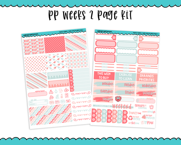 PP Weeks Sweet n Simple Tweet Love Valentine Love Pastel Patterns Weekly Kit sized for PP Weeks Planner or ANY Vertical Insert - Adorably Amy Designs
