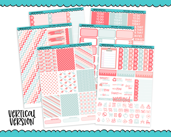 Vertical Sweet n Simple Tweet Love Pastel Valentine and Love Patterns Planner Sticker Kit for Erin Condren, Happy Planner or Any Other Planner - Adorably Amy Designs