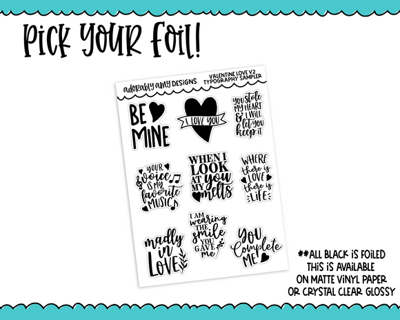 Foiled Valentine Love V2 Typography Planner Stickers for any Planner or Insert - Adorably Amy Designs