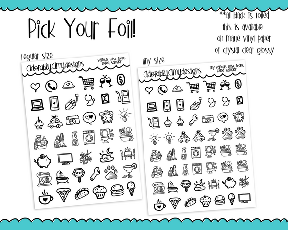 Foiled Regular or Tiny Size Various Misc Icons Food Travel Plans Cleaning Planner Stickers for Erin Condren, Plum Planner, Inkwell Press, Any Size Planners