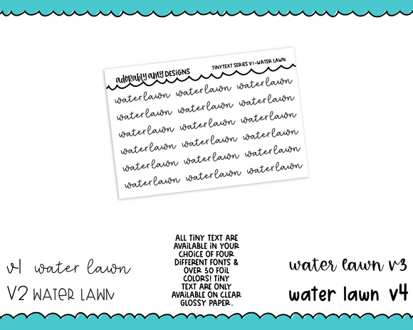 Foiled Tiny Text Series - Water Lawn Checklist Size Planner Stickers for any Planner or Insert
