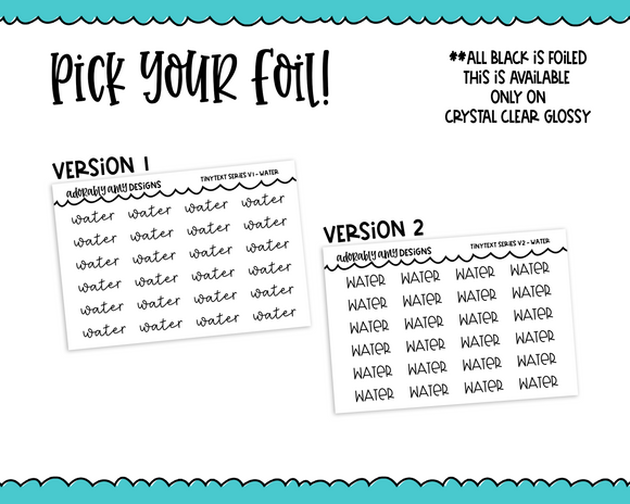 Foiled Tiny Text Series -   Water Checklist Size Planner Stickers for any Planner or Insert