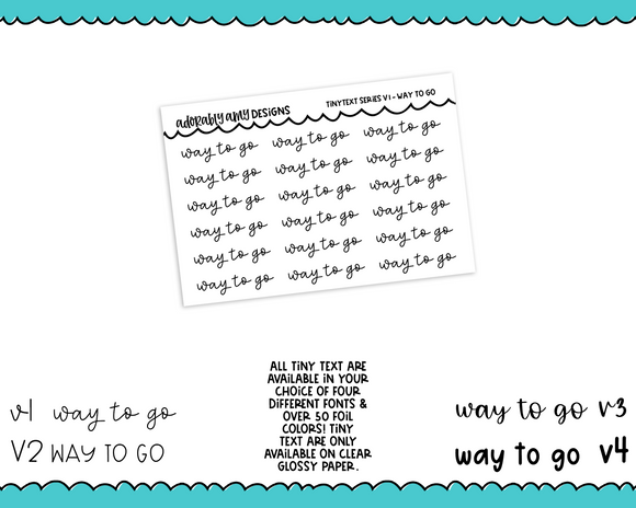 Foiled Tiny Text Series - Way To Go Checklist Size Planner Stickers for any Planner or Insert