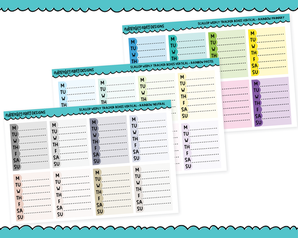 Rainbow Scallop Weekly Tracker Stickers Planner Stickers for any Planner or Insert