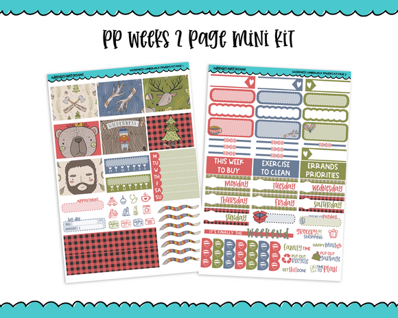 PP Weeks Wilderness Lumberjack Fall Forrest Lumberjack Themed Weekly Kit sized for PP Weeks Planner or ANY Vertical Insert