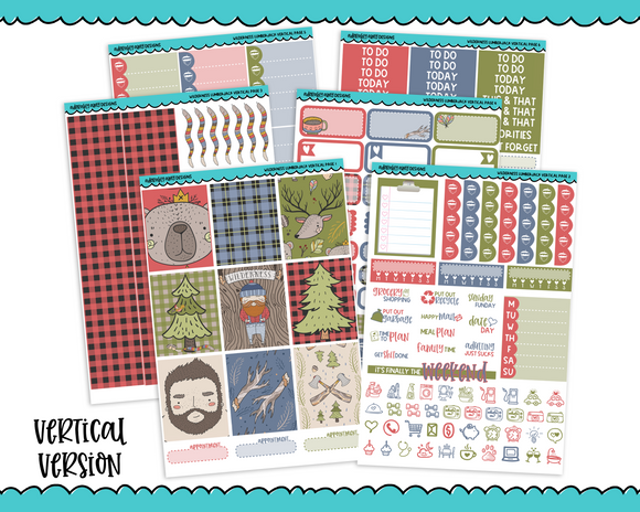 Vertical Wilderness Lumberjack Fall Forrest Lumberjack Themed Planner Sticker Kit for Erin Condren, Happy Planner or Any Other Planner - Adorably Amy Designs
