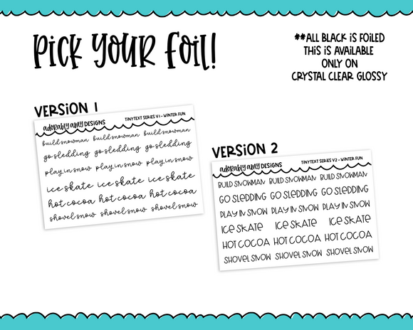 Foiled Tiny Text Series -  Winter Fun Checklist Size Planner Stickers for any Planner or Insert
