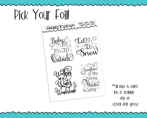 Foiled Clear Full Box Winter Themed Quotes Overlay Planner Stickers for Erin Condren, Plum Planner, Happy Planner, TN, or Any Size Planners - Adorably Amy Designs