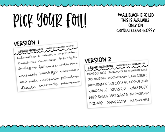 Foiled Tiny Text Series -   Christmas Bucket List Checklist Size Planner Stickers for any Planner or Insert
