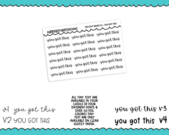 Foiled Tiny Text Series - You Got This Checklist Size Planner Stickers for any Planner or Insert
