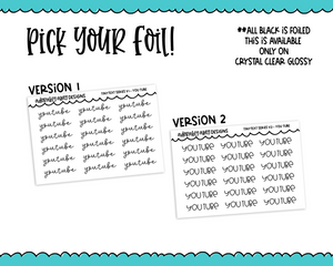 Foiled Tiny Text Series - You Tube Checklist Size Planner Stickers for any Planner or Insert
