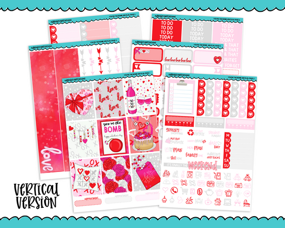 Vertical You're the Bomb Themed Planner Sticker Kit for Vertical Standard Size Planners or Inserts - Adorably Amy Designs