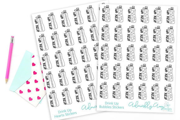 Hand Drawn Doodled Hydrate Drink Up Water Tracking Planner Stickers for Erin Condren, Plum Planner, Inkwell Press,  or Any Size Planners - Adorably Amy Designs