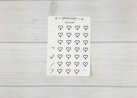 Foiled Doodled Heart Icon Planner Stickers for Erin Condren, Plum Planner, Inkwell Press, Filofax, or Any Size Planners