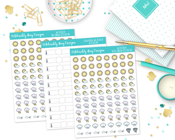 Transparent Weather Stickers for Erin Condren, Hobonichi Weeks, any Planner or Insert - Adorably Amy Designs