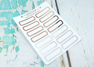 Foiled Plain Quarter Boxes Two Styles Planner Stickers for any Planner or Insert - Adorably Amy Designs