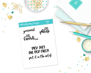 Custom Typography Sticker Reminder Planner Stickers for any Planner or Insert - Adorably Amy Designs