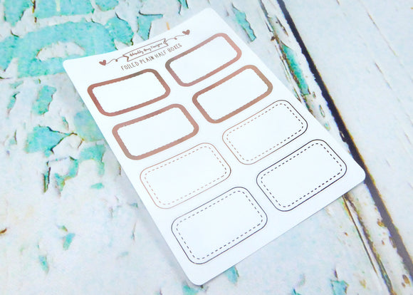 Foiled Plain Half Boxes Two Styles Planner Stickers for any Planner or Insert - Adorably Amy Designs