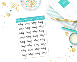 Hand Lettered Today Reminder Planner Stickers for any Planner or Insert - Adorably Amy Designs