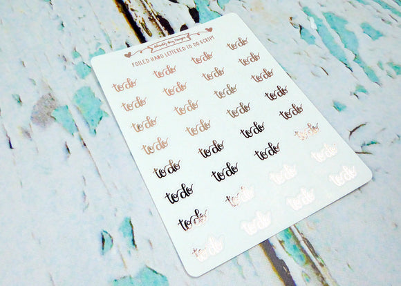 Foiled Hand Lettered To Do Reminder Planner Stickers for any Planner or Insert - Adorably Amy Designs