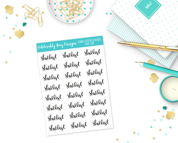 Hand Lettered Shit List Planner Stickers for any Planner or Insert - Adorably Amy Designs