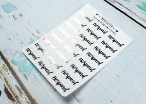 Foiled Hand Lettered No Spend Typography Planner Stickers for Erin Condren, Plum Planner, Inkwell Press, or Any Size Planners - Adorably Amy Designs