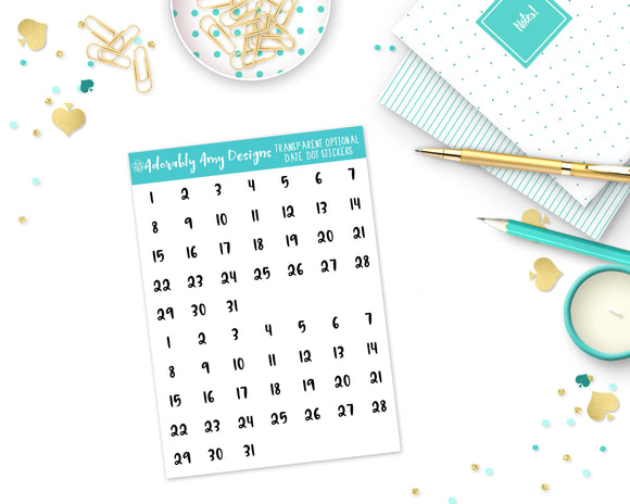 Transparent Optional Date Dot Date Covers Planner Stickers for Erin Condren, Plum Planner, Recollections, or Any Size Planners - Adorably Amy Designs