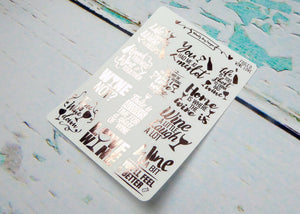 Foiled Typography Wine Lover Word Art Planner Stickers for any Planner or Insert - Adorably Amy Designs