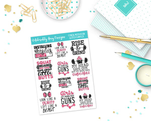 Glitter Fitness Motivation Sampler Planner Stickers for any Planner or Insert - Adorably Amy Designs