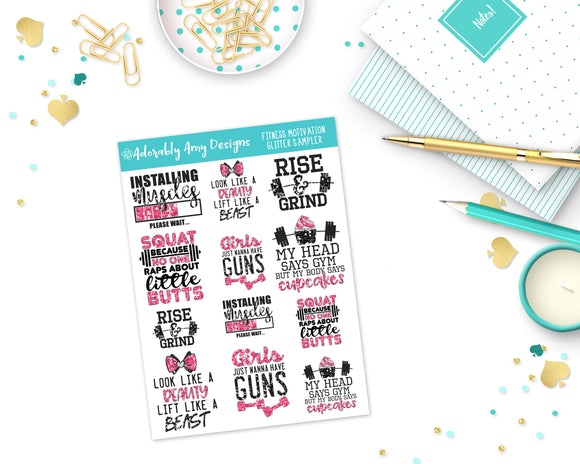 Glitter Fitness Motivation Sampler Planner Stickers for Erin Condren, Plum Planner, Inkwell Press, Kikki K or Any Size Planners - Adorably Amy Designs