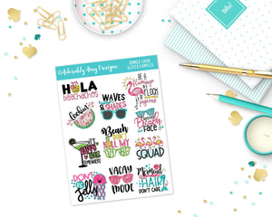 Glitter Summer Lovin' Sampler Planner Stickers for any Planner or Insert - Adorably Amy Designs