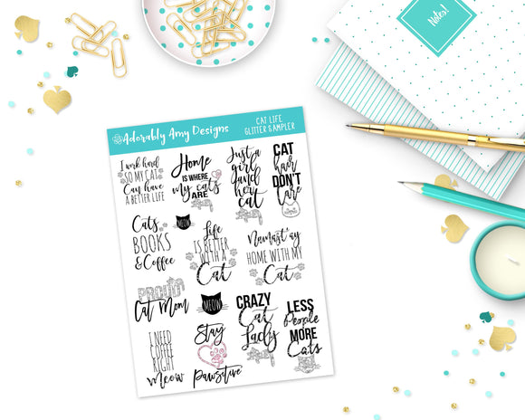 Glitter Cat Life Sampler Planner Stickers for Erin Condren, Plum Planner, Inkwell Press, Kikki K or Any Size Planners - Adorably Amy Designs