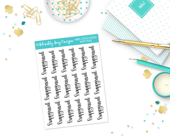 Hand Lettered Happy Mail Planner Stickers for any Planner or Insert - Adorably Amy Designs