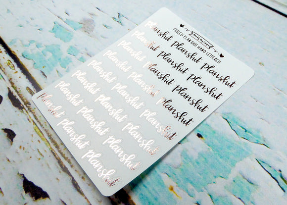 Foiled Hand Lettered Plan Shit Typography Planner Stickers for Erin Condren, Plum Planner, Inkwell Press, or Any Size Planners - Adorably Amy Designs