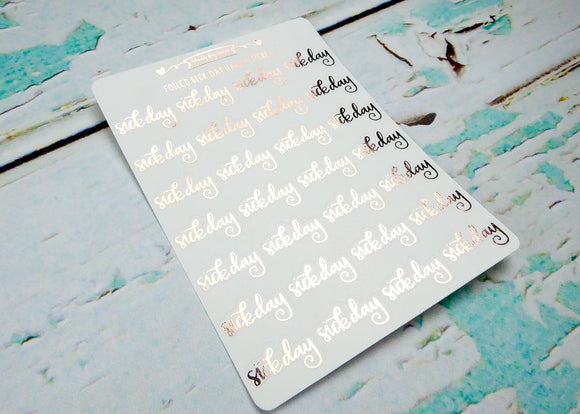 Foiled Hand Lettered Sick Day Typography Planner Stickers for Erin Condren, Plum Planner, Inkwell Press, or Any Size Planners - Adorably Amy Designs