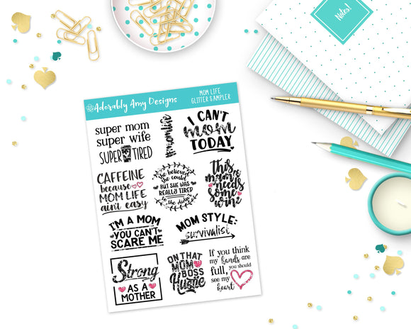 Glitter Mom Life Sampler Planner Stickers for Erin Condren, Plum Planner, Inkwell Press, Kikki K or Any Size Planners - Adorably Amy Designs