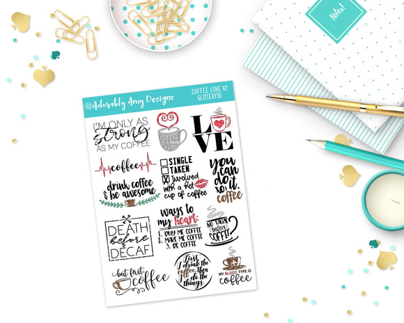 Glitter Coffee Lovers Sampler Planner Stickers for Erin Condren, Plum Planner, Inkwell Press, Kikki K or Any Size Planners - Adorably Amy Designs
