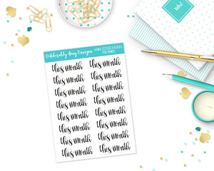 Hand Lettered This Month Planner Stickers for any Planner or Insert - Adorably Amy Designs