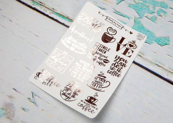 Foiled Typography Coffee Lover Word Art Planner Stickers for Erin Condren, Plum Planner, Happy Planner, or Any Size Planners