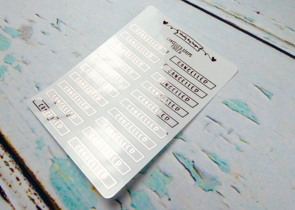 Foiled Clear Cancelled Strips Planner Stickers for Erin Condren, Plum Planner, Inkwell Press, Filofax, or Any Size Planners