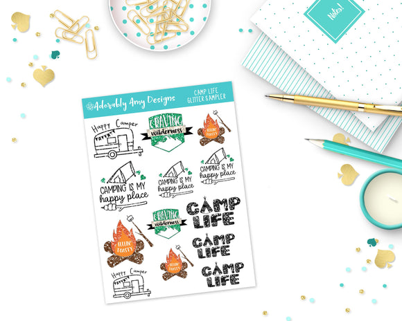 Glitter Camping Life Sampler Planner Stickers for Erin Condren, Plum Planner, Inkwell Press, Kikki K or Any Size Planners - Adorably Amy Designs