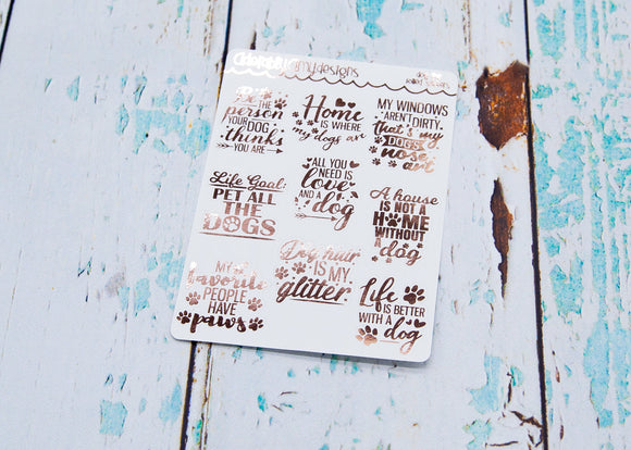 Foiled Dog Life Sampler Planner Stickers for Erin Condren, Plum Planner, Inkwell Press, or Any Size Planners - Adorably Amy Designs