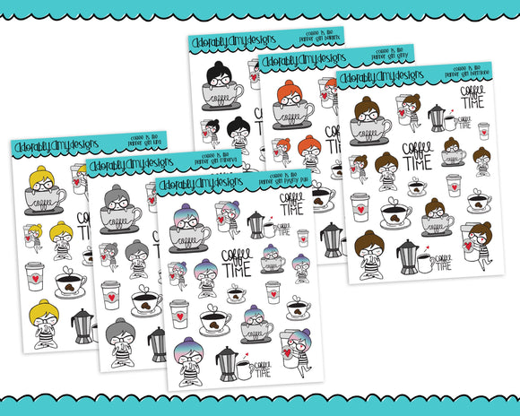 Planner Girls Character Stickers Coffee is Life Planner Stickers for Erin Condren, Plum Planner, Inkwell Press, Kikki K or Any Size Planners